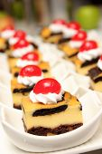 picture of brownie  - A brownie cheese cake on white cup - JPG