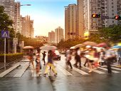 stock photo of zebra crossing  - Busy city street people on zebra crossing - JPG