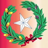 foto of texas star  - The laurel leaf and star from the seal of the state of TEXAS - JPG