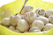 picture of marinade  - Champignon mushrooms in marinade ready for cooking - JPG
