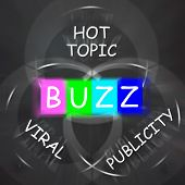 Постер, плакат: Buzz Words Displays Publicity And Viral Hot Topic