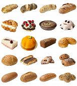 image of baps  - A selection of freshly baked bread baps and cakes isolated on a white background - JPG