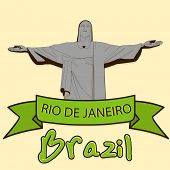 pic of passion christ  - Brazil famous statue of Christ the Reedemer in Rio De Jenerio and green ribbon - JPG