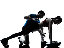 picture of abdominal  - personal trainer man coach and woman exercising abdominals push ups on bosu silhouette studio isolated on white background - JPG