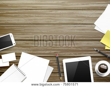 Working Place Elements Over Wooden Table