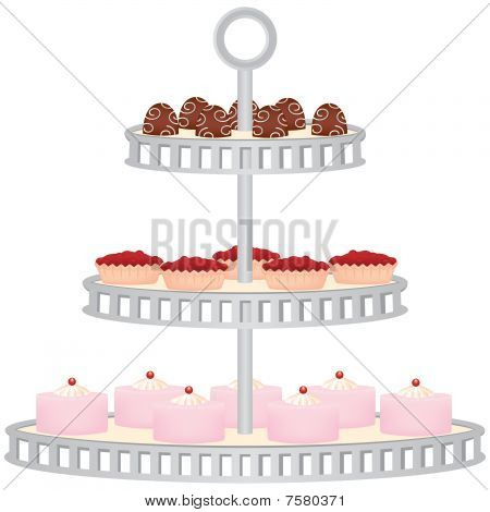 Dessert Stand Filled with Cakes and Sweets
