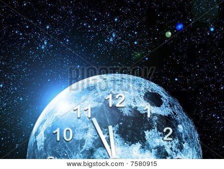 Planet Clock In Space
