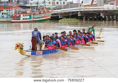 Unidentified Dragon Boat Teams In Rayong River, Thailand