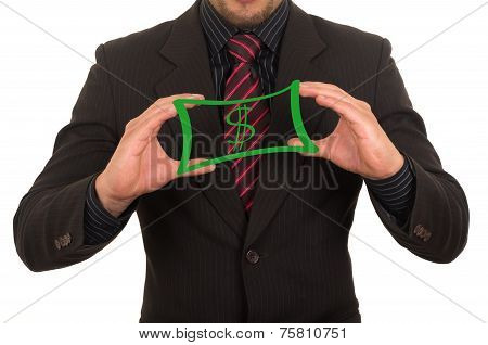 young businessman holding drawn sketched money bill