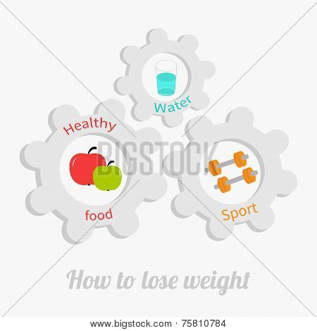 Cogwheel Gear Set With Water, Apple, Dumbell. Healthy Lifestyle Concept. How To Lose Weight Flat Des