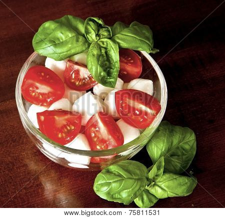 Italian Caprese Salad: Mozzarella, Tomatoes And Basil
