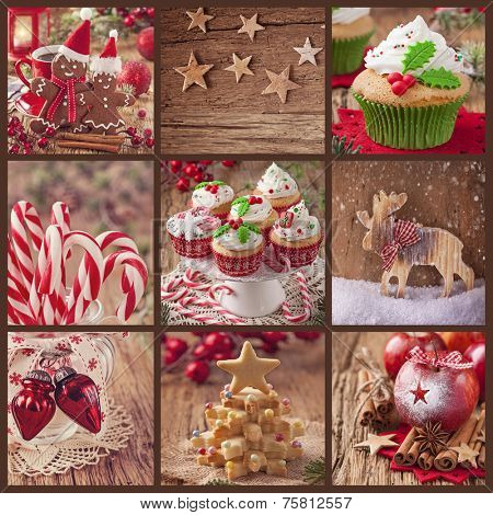 Collage of christmas sweets on a wooden background