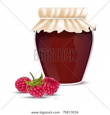 Raspberry Marmalade In A Jar And Fresh Raspberries