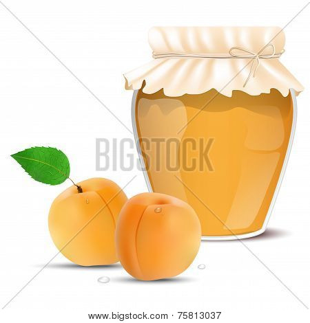 Apricot Jam In A Jar And Fresh Apricots
