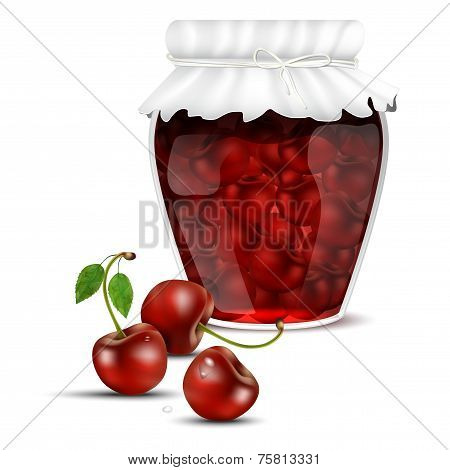 Cherry Jam In A Jar And Fresh Cherries
