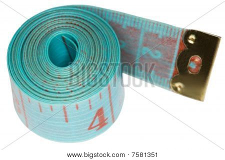 Cyan Centimetric Tape Isolated On White Background