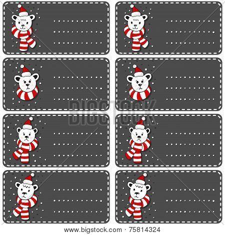 Polar bears in Santa Claus hats dark sticker set