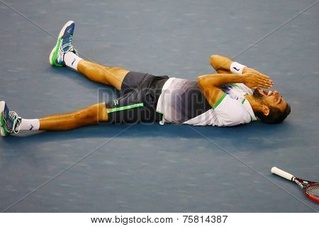 US Open 2014 champion Marin Cilic celebrates victory after final match against Kei Nishikori