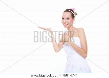 Woman Bride Showing Open Hand Copy Space For Product