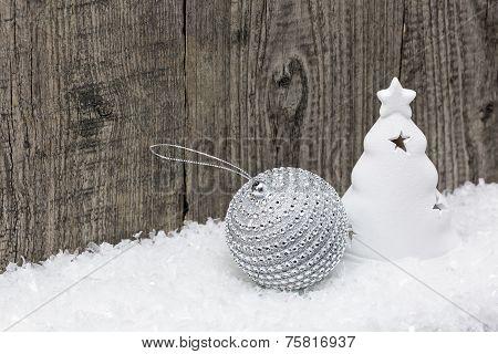 Christmas Decoration On Snow