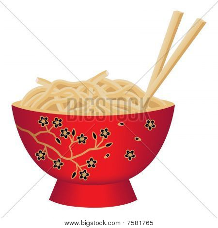 Red Noodle Bowl With Chopsticks