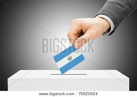 Voting Concept - Male Inserting Flag Into Ballot Box - El Salvador