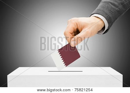 Voting Concept - Male Inserting Flag Into Ballot Box - Qatar