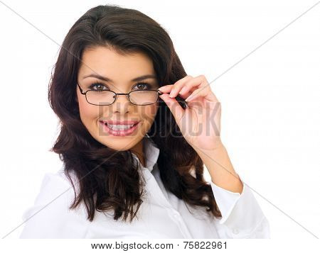 Close up Smiling Young Female with Wavy Black Hair Looking at the Camera with Eye Glasses. Isolated on White Background.
