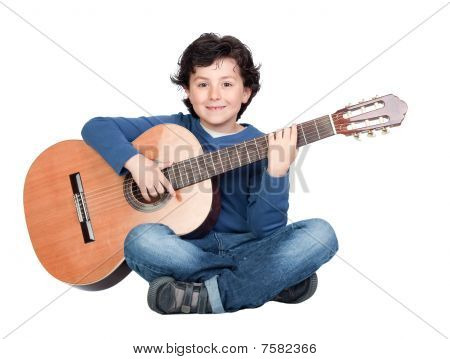 Music Student Playing The Guitar