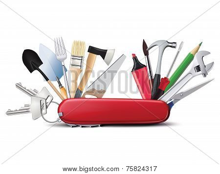 Swiss Universal Knife With Tools Creative Illustration