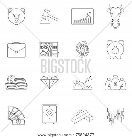 Finance exchange outline icons