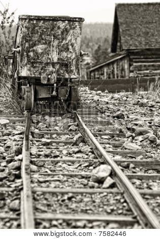 Vintage Ghost-Town Mining Ore Cart