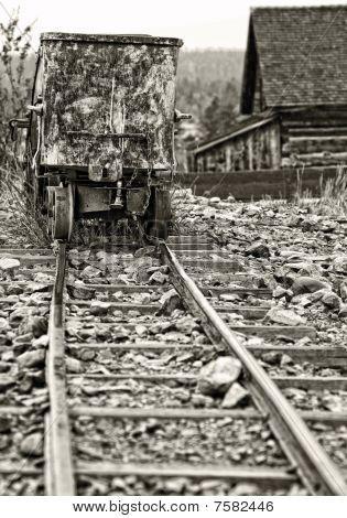 Vintage de pueblo fantasma minero mineral carro