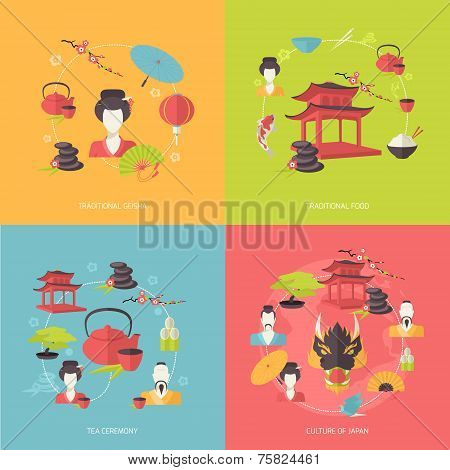 Japan icons flat