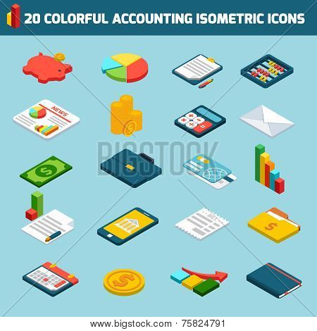Accounting icons set isometric