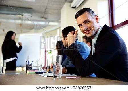Businesspeople sitting on the meeting at office
