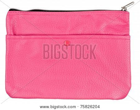 Pink Leather Case Isolated On White