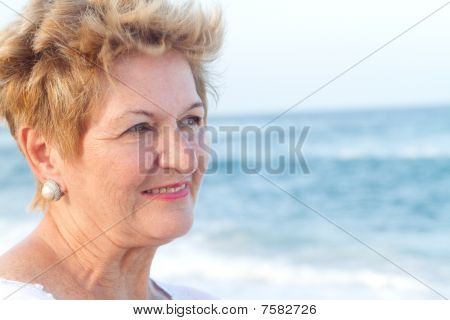 close-up of smiling senior woman