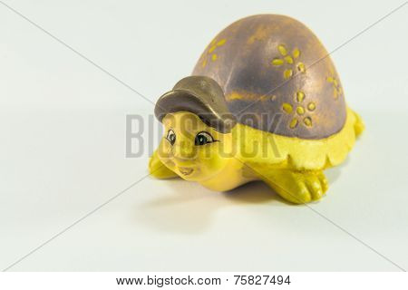 Decorative Yellow Tortoise Ceramic With Brown Hat