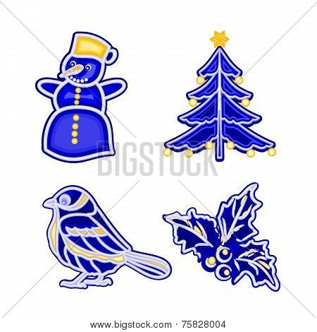 Christmas decoration blue faiánse snowman tree bird holly vector