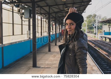 Pretty Girl Posing In A Metro Station