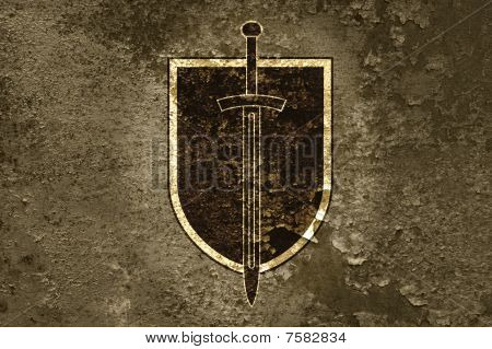 Board And Sword On A Grunge Background.
