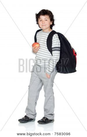 Student Child With Backpack And Apple