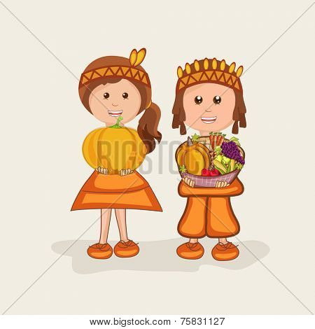 Little cute kids holding pumpkin and fruits basket for Thanksgiving Day celebration.