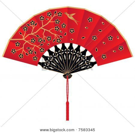 Decorated Red Silk Chinese Fan