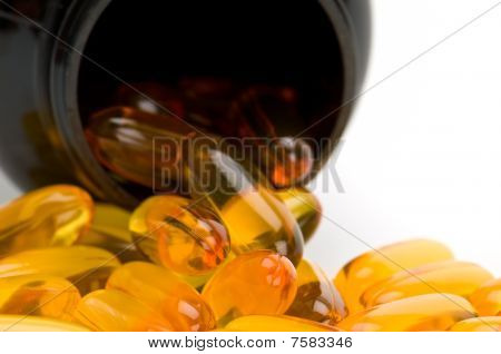 Omega 3 Pills Spilling From Bottle