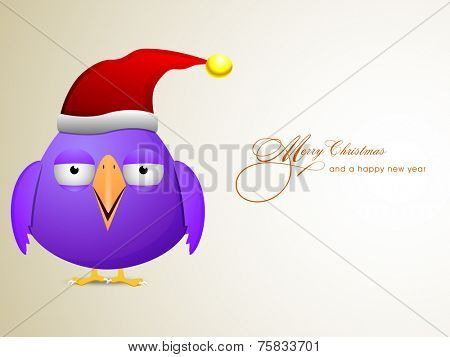 Merry Christmas and Happy New Year greeting card design with purple cartoon bird in Santa's cap.