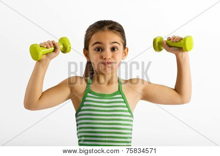 Cute Little Girl Working Out With Dumbbells