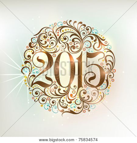 Beautiful floral decorated X-mas ball with stylish text 2015 on shiny grey background for Happy New Year celebrations.