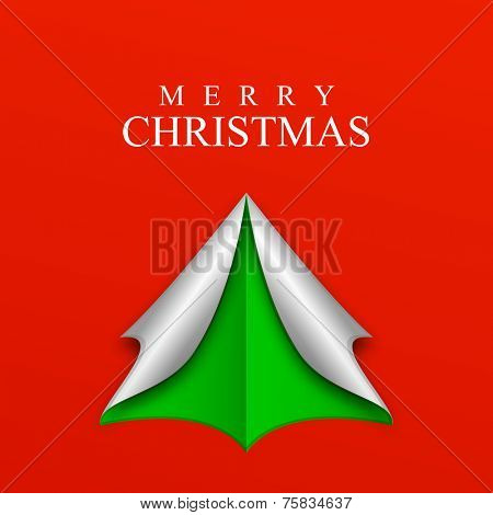 Paper art design of X-mas tree with stylish text on red background for Merry Christmas celebrations.